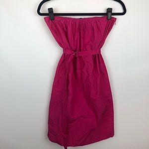 Theory hot pink strapless dress with belt